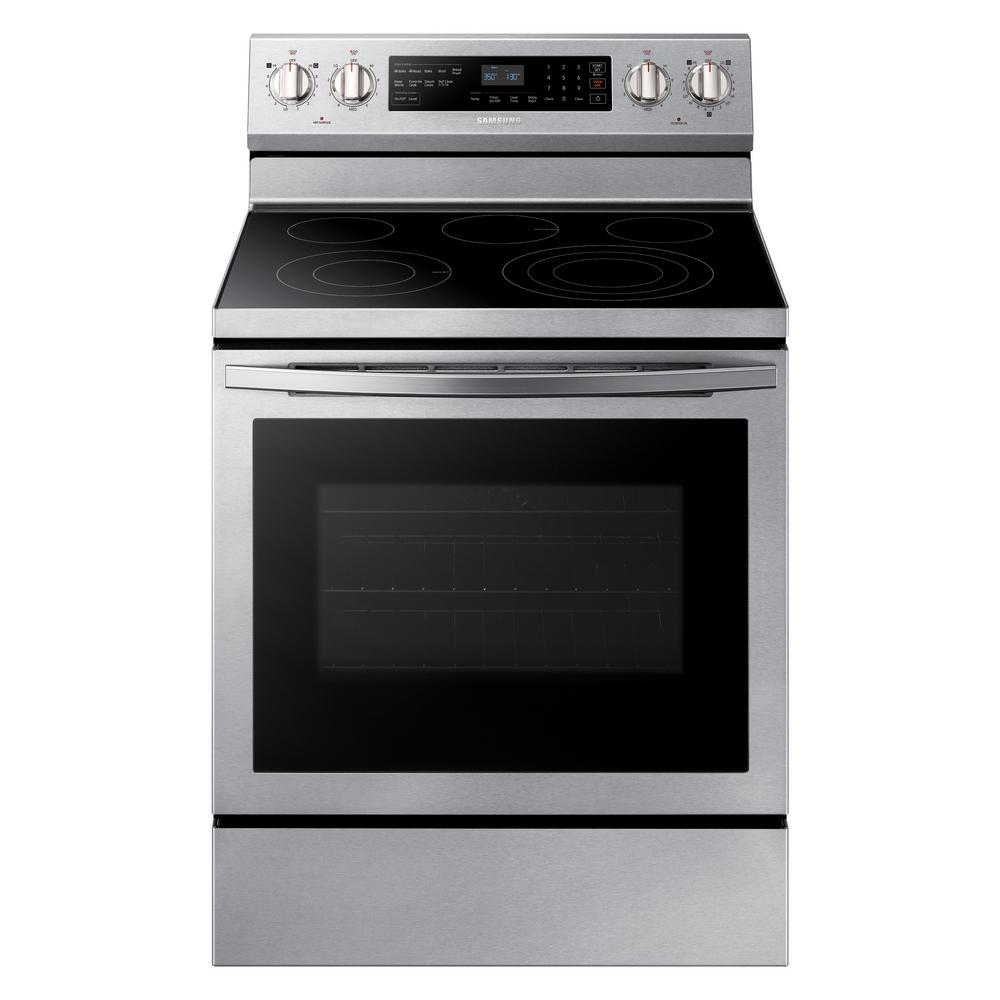 Samsung Samsung 30 in. 5.9 cu. ft. Single Oven Electric Range with Self-Cleaning, True Convection in Stainless Steel, Silver