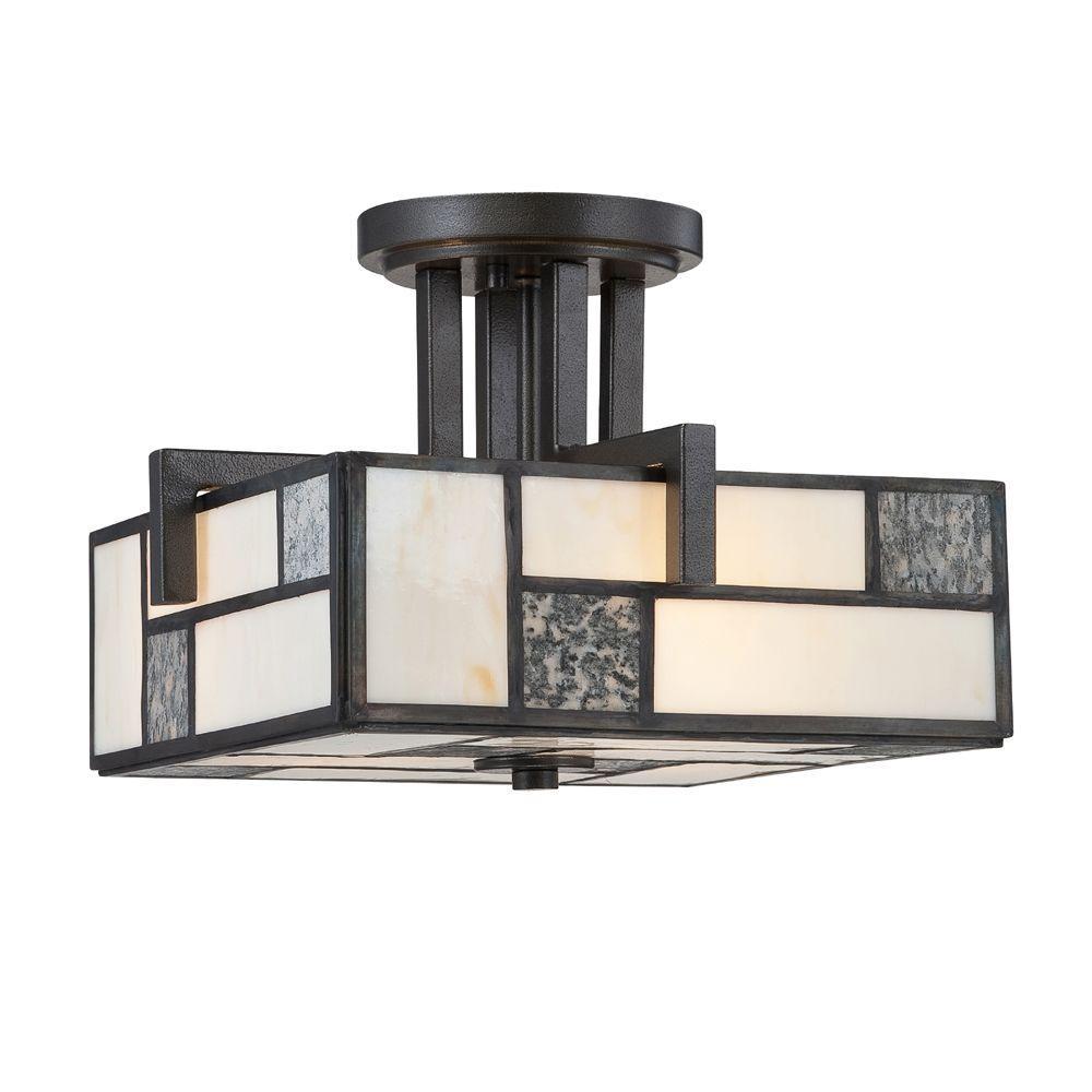 Bradley 3-Light Charcoal Interior Incandescent Semi Flush Mount
