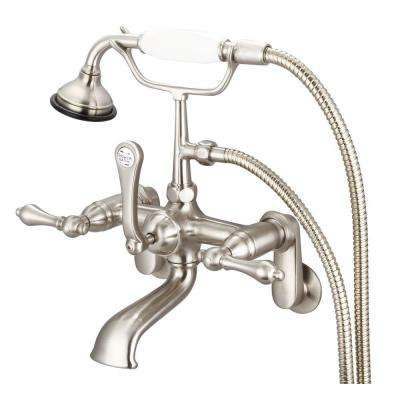 3-Handle Vintage Claw Foot Tub Faucet with Lever Handles and Hand Shower in Brushed Nickel
