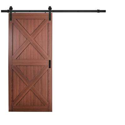 36 in. x 84 in. Cherry Double X Design Solid Core Interior Barn Door with Rustic Hardware Kit