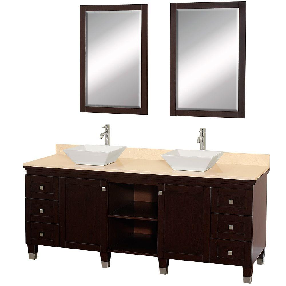 Wyndham Collection Premiere 72 in. Vanity in Espresso with Marble Vanity Top in Ivory with White Porcelain Sinks and Mirrors