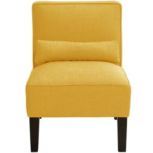 Strange Linen French Yellow Armless Chair 5705Lnnfrnylw The Home Depot Squirreltailoven Fun Painted Chair Ideas Images Squirreltailovenorg