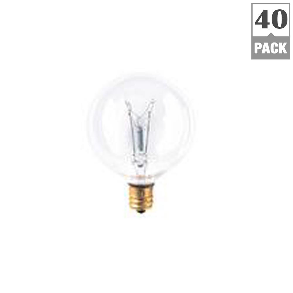 Bulbrite 861263 W Dimmable G16.5 Shape Incandescent Bulb E12 Base with Candelabra Screw 40 Pack Clear