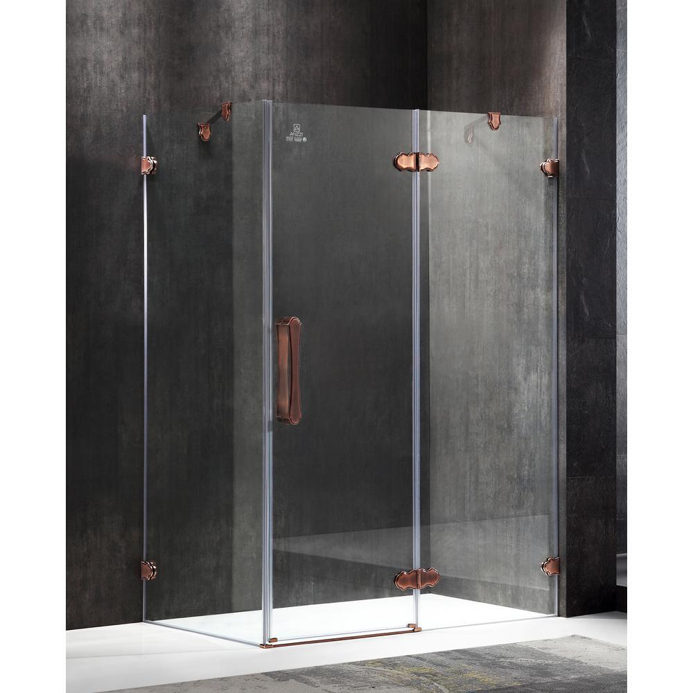 Deacon 55.51 in. x 78.74 in. Semi-Frameless Corner Hinged Shower Door in Bronze