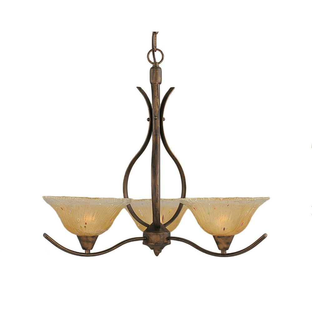 Concord 3-Light Bronze Chandelier with Amber Crystal Glass