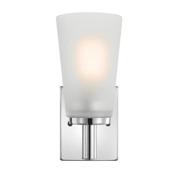 Alyssa 1-Light Chrome Wall Sconce with Frosted Glass Shade