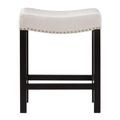 24 in. Ivory Cushioned Curved Nailhead Counter Stool in Black