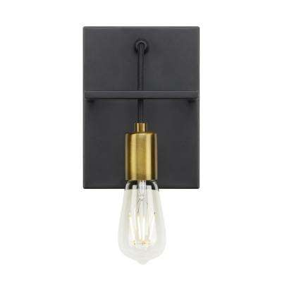 Tae 1-Light Black/Aged Brass Sconce with LED Bulb