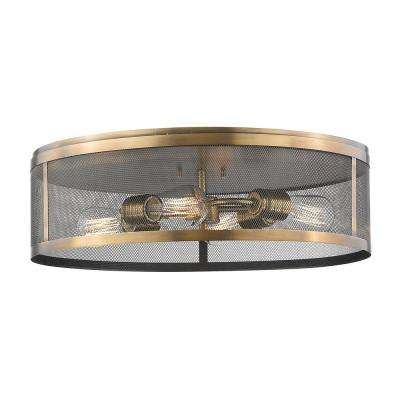 Rakel 4-Light Natural Brass Flush Mount with Natural Brass Steel Shade
