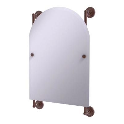 Prestige Regal 21 in. x 29 in. Single Arched Top Frameless Rail Mounted Mirror in Antique Copper