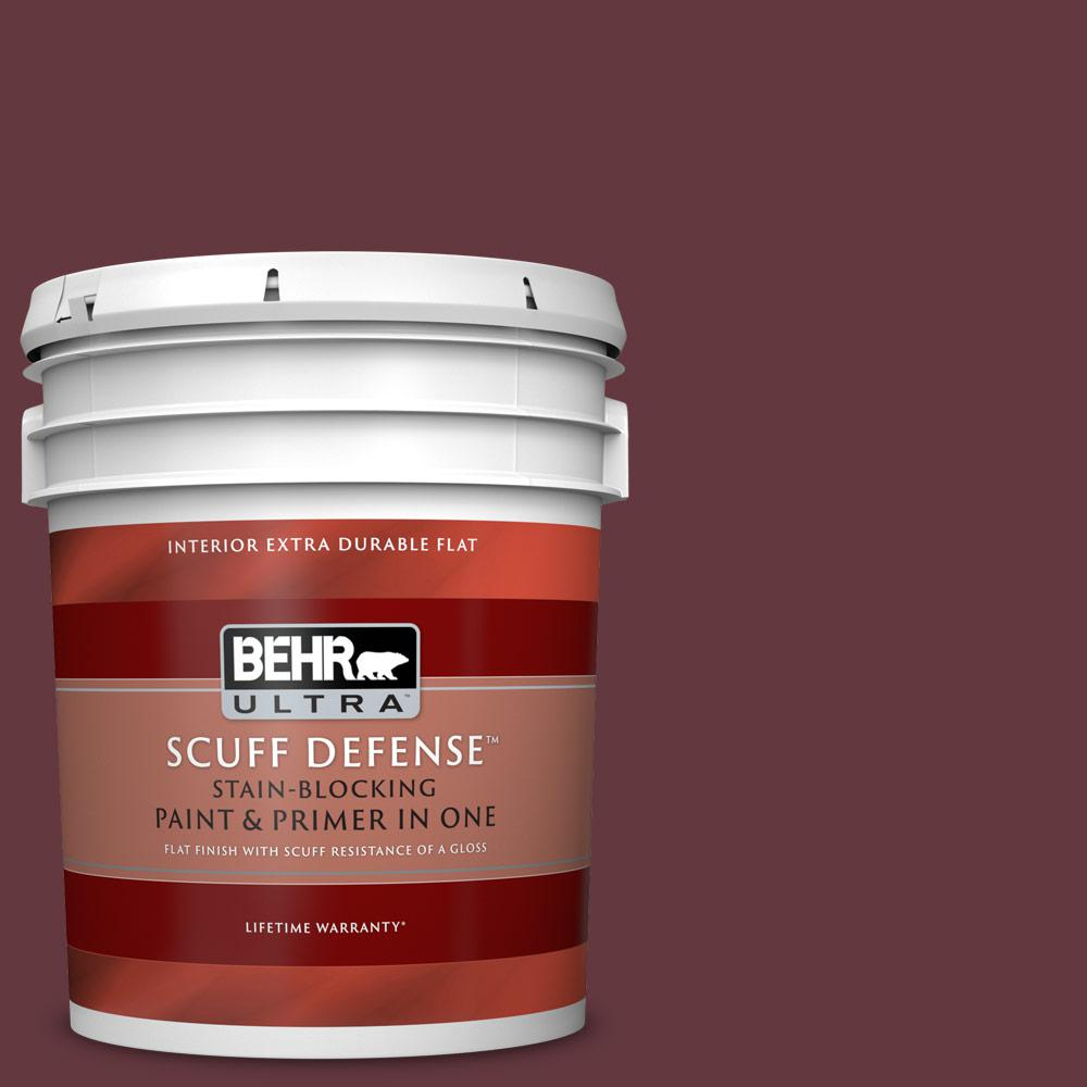 Behr Ultra 5 Gal Mq1 14 Twinberry Extra Durable Flat Interior Paint With Primer In One 172305 The Home Depot