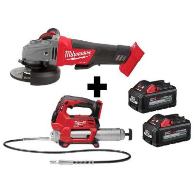 M18 FUEL 18-Volt 4-1/2 in./5 in. Lithium-Ion Brushless Cordless Grinder with Paddle Switch with Grease Gun