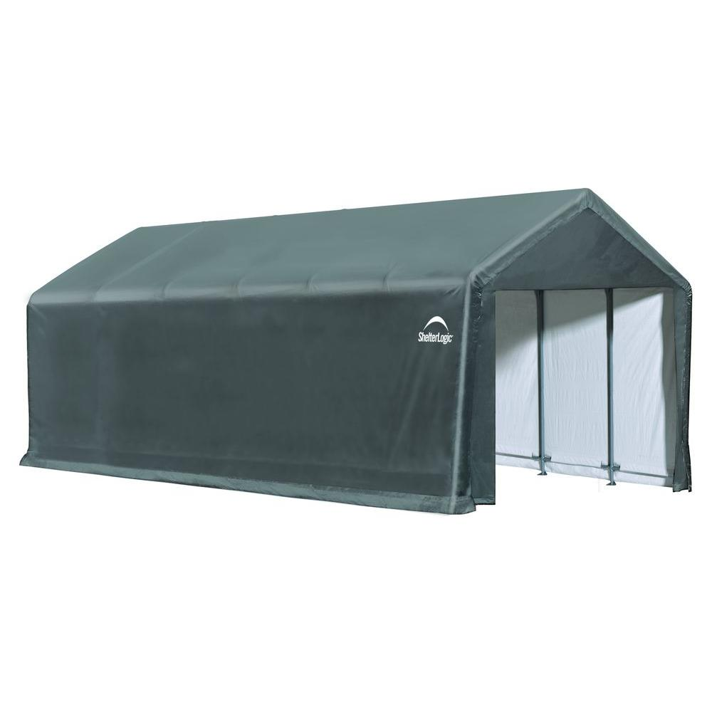 Shelterlogic 12 Ft W X 30 Ft D X 11 Ft H Sheltertube Steel And Polyethylene Garage Without Floor In Grey With Waterproof Fabric 62808 The Home Depot