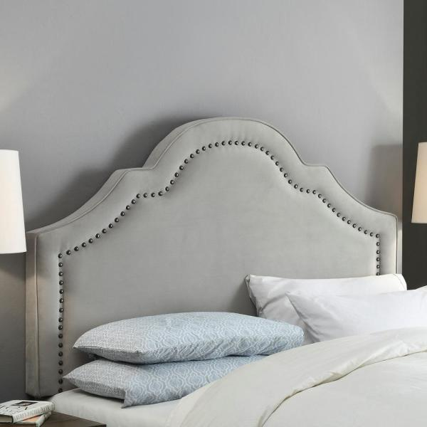 Attrayant FirsTime Verona Gray Velvet Full And Queen Headboard