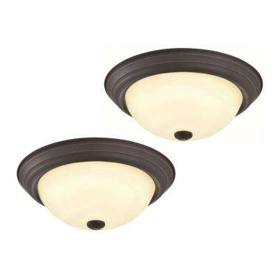 Travis 20-Watt Oil-Rubbed Bronze Integrated LED Flushmount (2-Pack)
