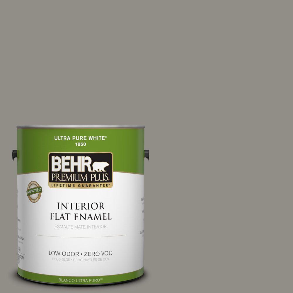 BEHR Premium Plus 1-gal. #T13-17 Timber Town Zero VOC Flat Enamel Interior Paint-DISCONTINUED
