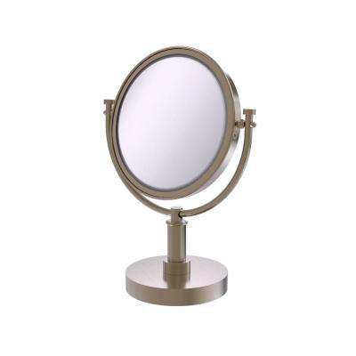 15 in. x 8 in. Vanity Top Make-Up Mirror 4x Magnification in Antique Pewter