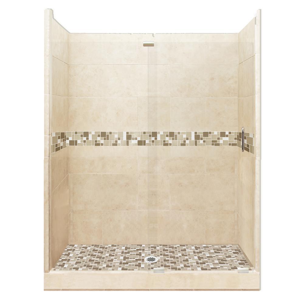 Tuscany Grand Slider 34 in. x 60 in. x 80 in. Center Drain Alcove Shower Kit in Desert Sand and Satin Nickel Hardware
