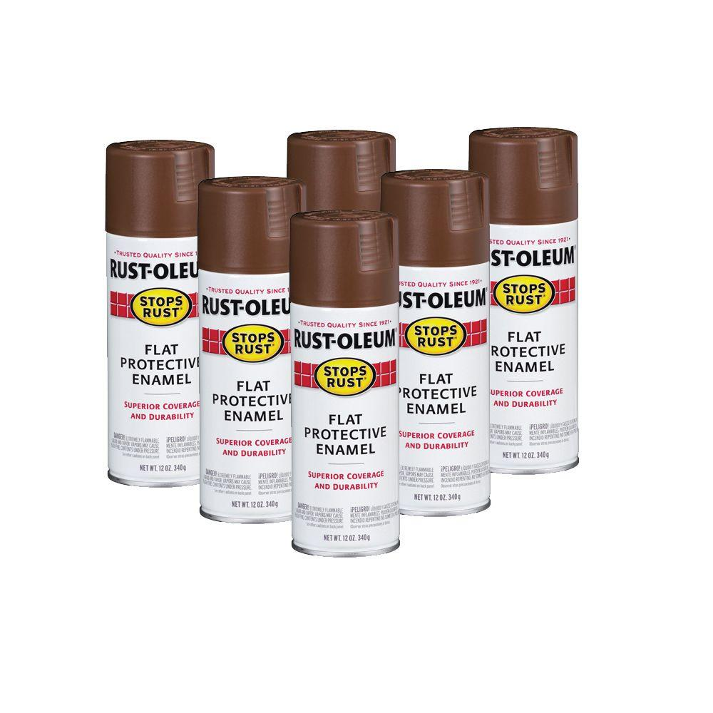 Rust-Oleum Stops Rust 12 oz. Flat Brown Spray Paint (6-Pack)-DISCONTINUED