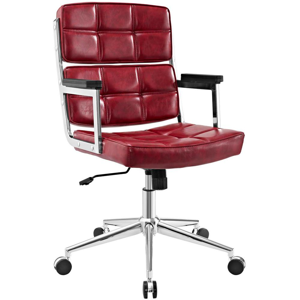 Portray Red High-Back Upholstered Vinyl Office Chair