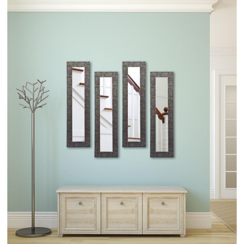 13.5 inch x 27.5 inch Safari Silver Vanity Mirror (Set of 4-Panels) by