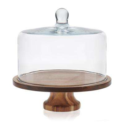 Acaciawood Footed Round Wood Server with Glass Dome