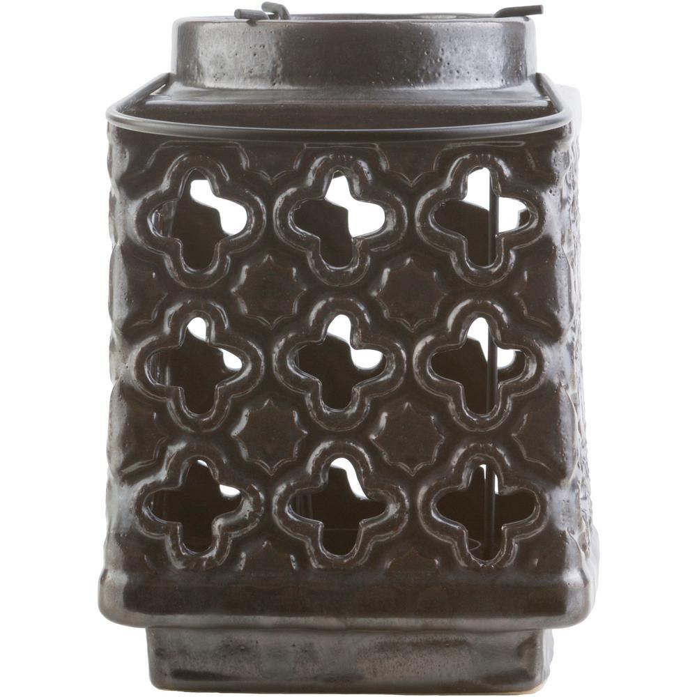 Obadiah 7.5 in. Black Ceramic Lantern
