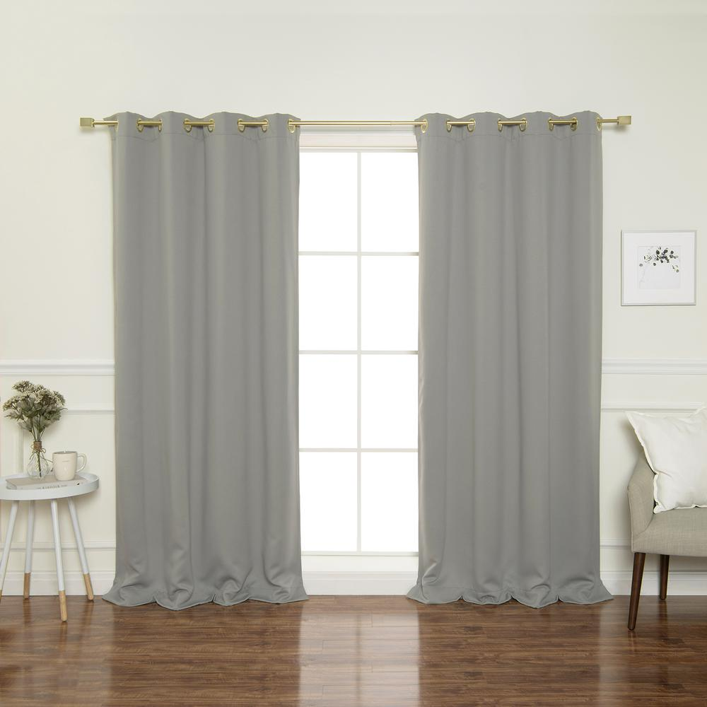 Gold Grommet 84 in. L Triple Weave Blackout Curtain Panel in Dove (2-Pack)