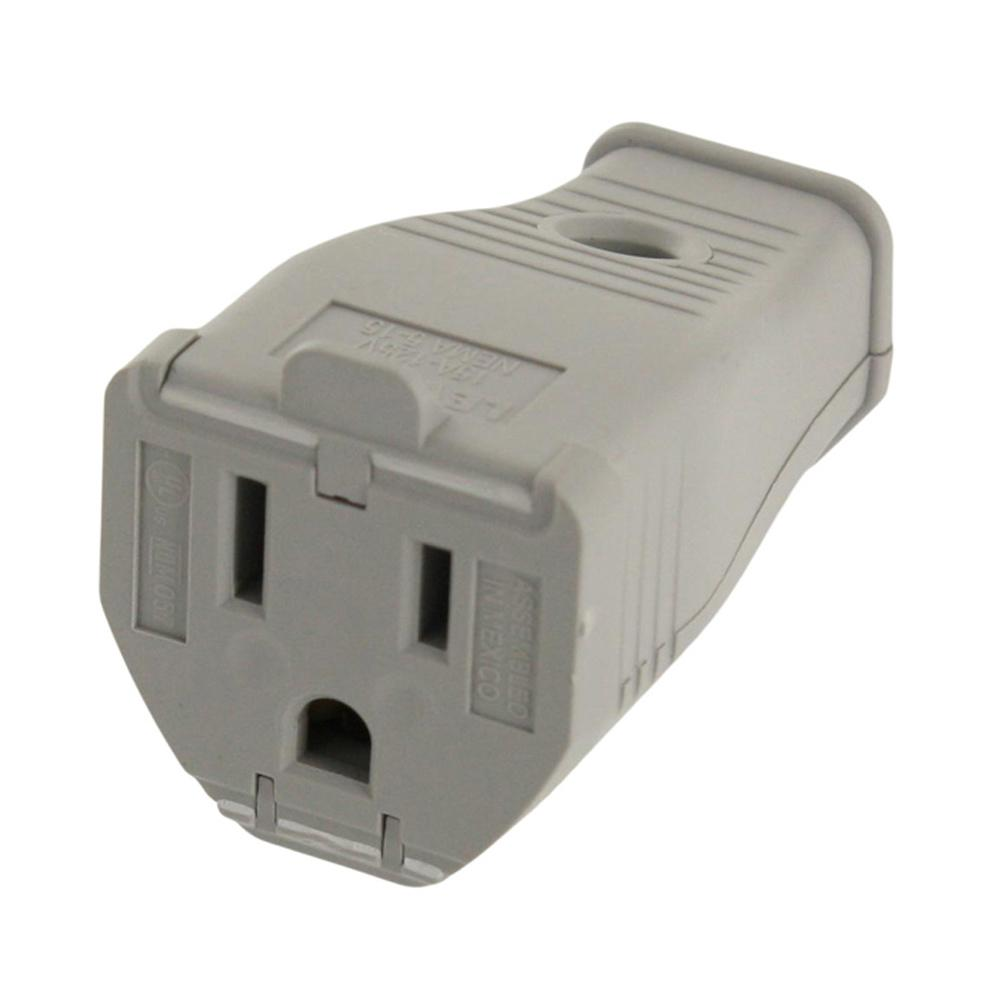 15 Amp 125-Volt 3-Wire Grounding Connector, Gray