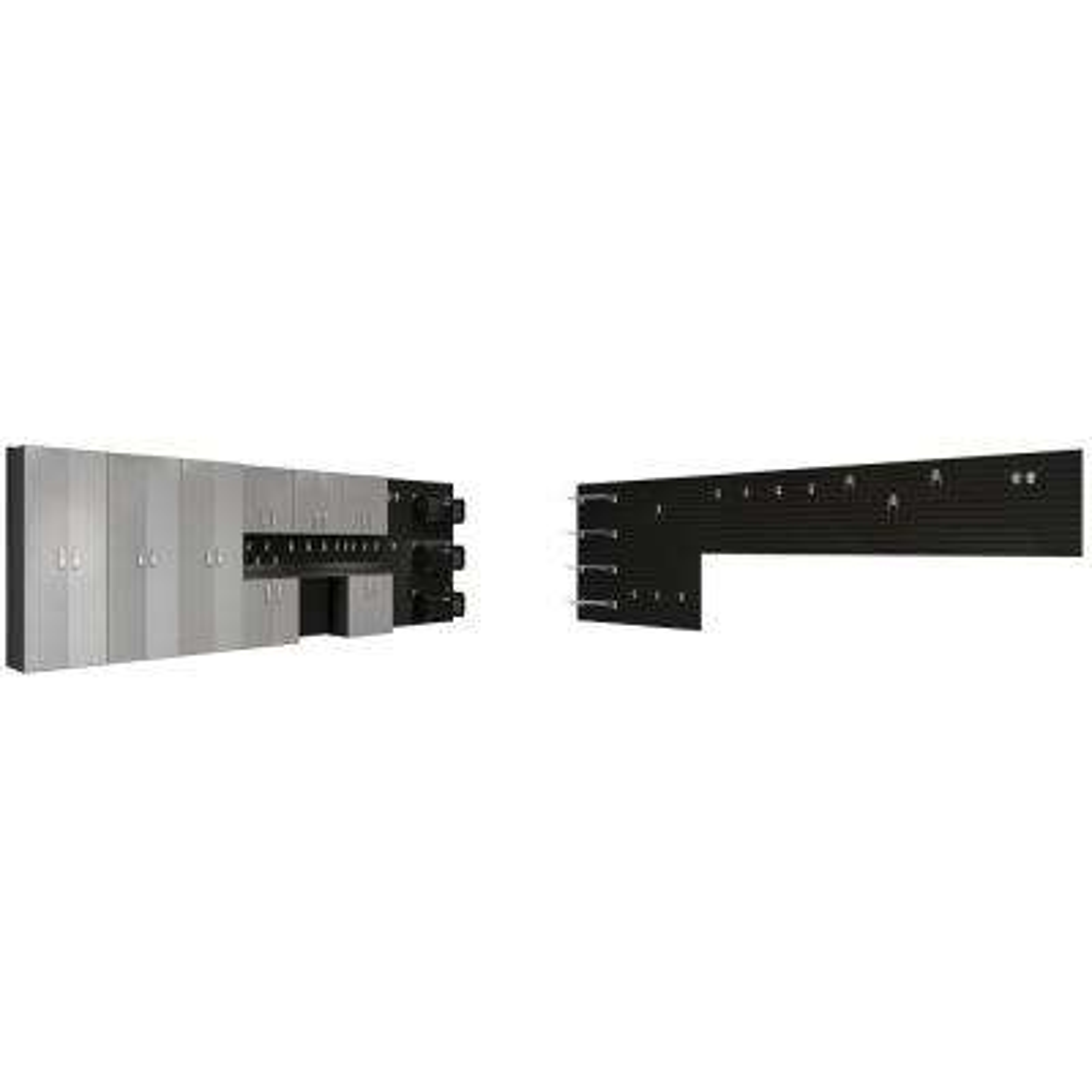 Modular Wall Mounted Garage Organization Set with Workstation and Accessories in Black/Platinum Carbon Fiber (37-Piece)