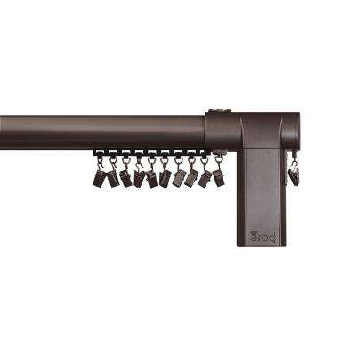 68 - 120 in. Side-Open Remote Control Telescoping Drapery Rod Kit in Bronze