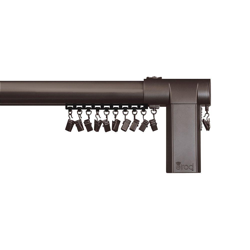 68 - 120 in. Side-Open Remote Control Telescoping Drapery Rod Kit in Bronze
