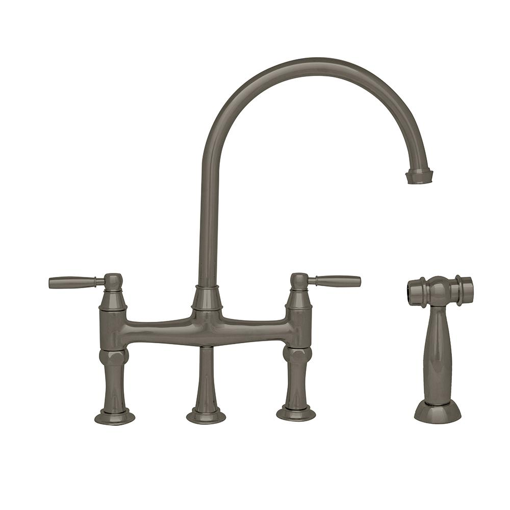 Whitehaus Collection Queenhaus 2 Handle Bridge Kitchen Faucet With Side  Sprayer In Brushed Nickel
