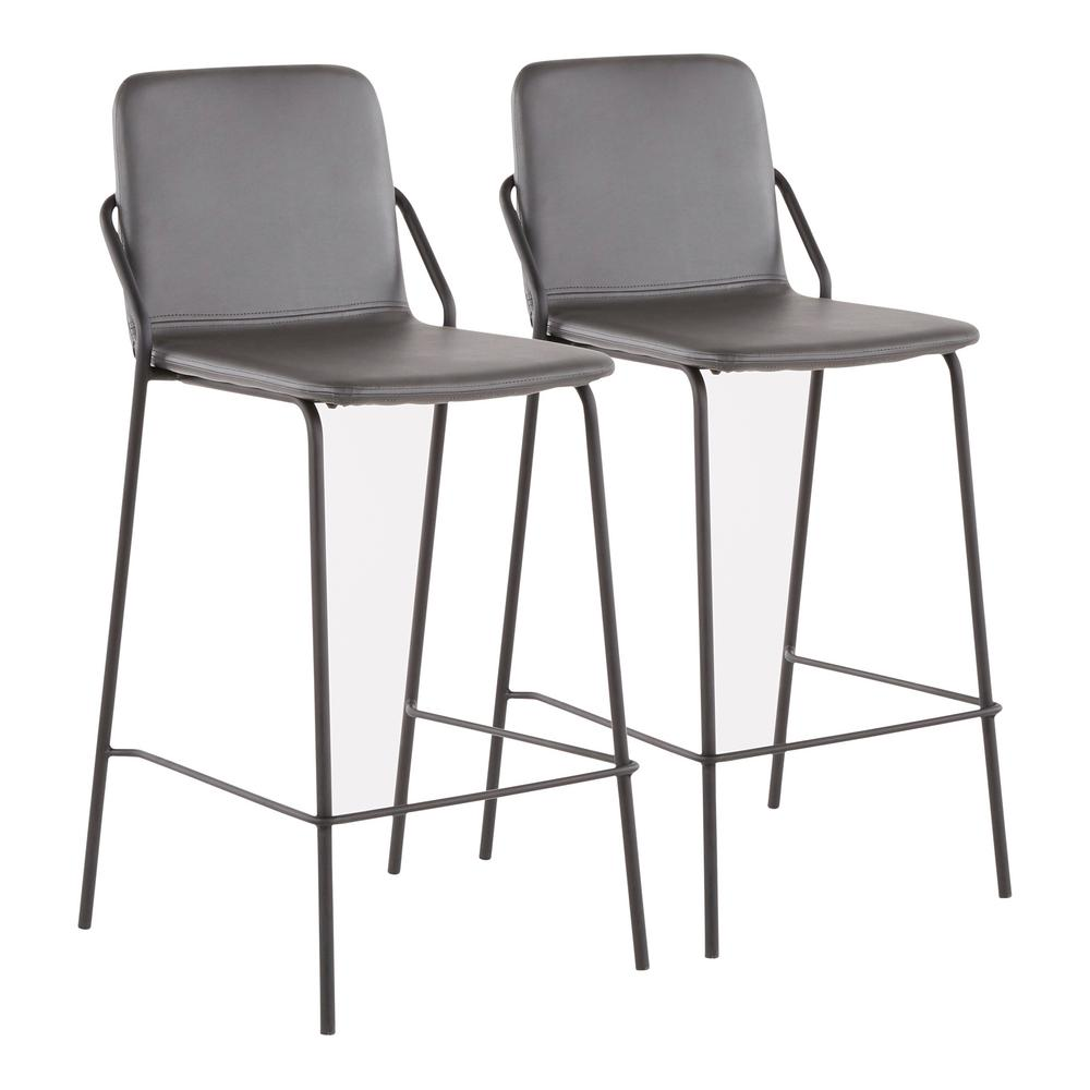 6e7fb4f46a7a Lumisource Stefani Industrial 25 in. Grey Faux Leather Counter Stool (Set  of 2)