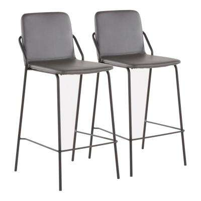 Stefani Industrial 25 in. Grey Faux Leather Counter Stool (Set of 2)