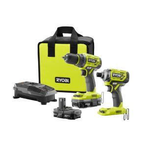 18 Volt One Lithium Ion Cordless Brushless Drill Driver Impact Kit