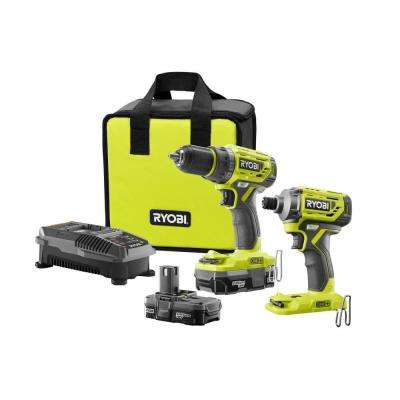 18-Volt ONE+ Lithium-Ion Cordless Brushless Drill/Driver-Impact Driver Kit (2-Tool) w/(2) 1.3 Ah Batteries, Charger, Bag