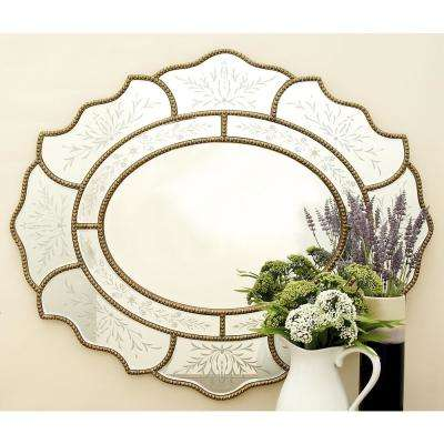 New Traditional Oval Etched Wall Mirror
