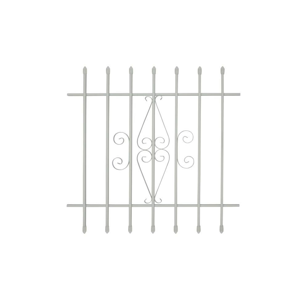 Grisham 36 in. x 36 in. Spear Point 7-Bar Security Bar Window Guard, White