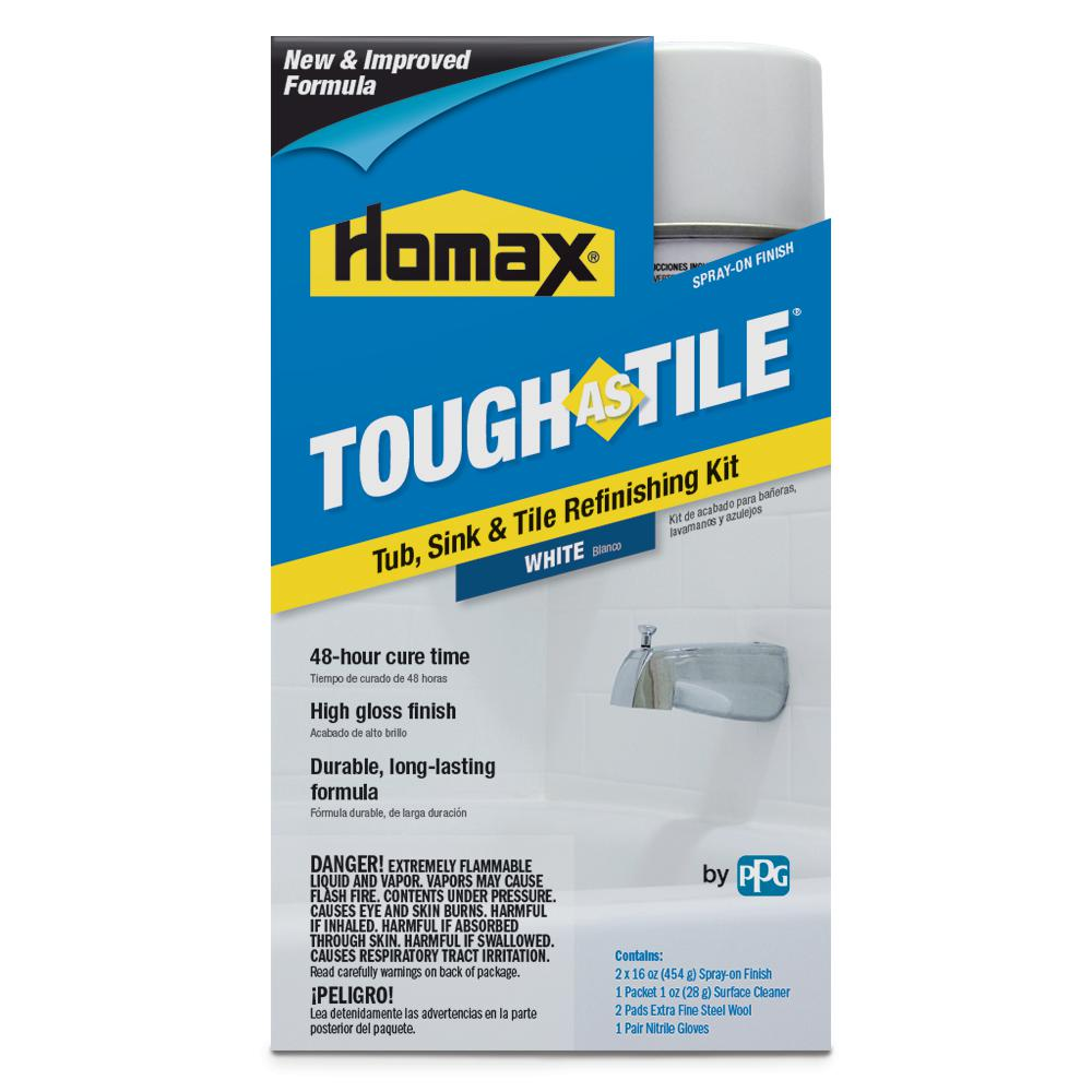 Paint Bathroom Tub: Homax 32 Oz. White Tough As Tile One Part Aerosol Kit-3153