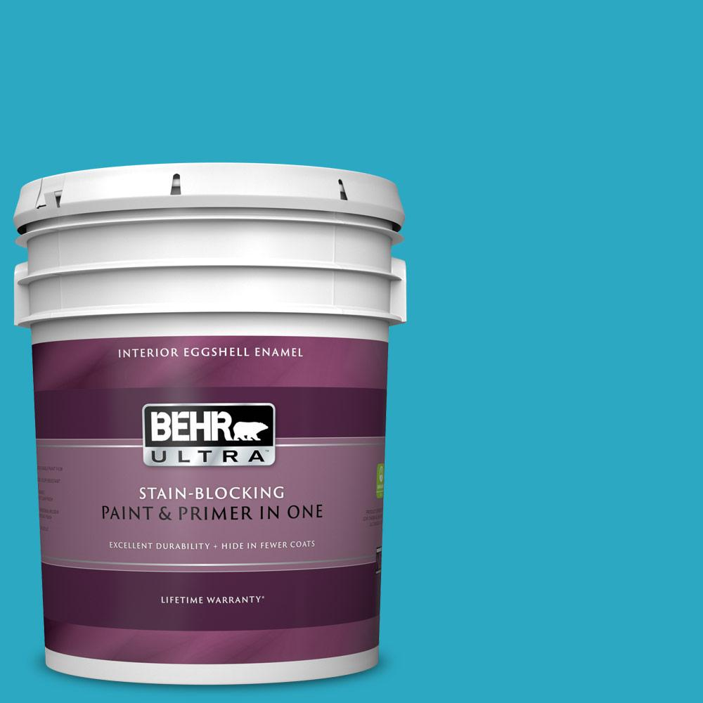 Behr Ultra 5 Gal P480 5 High Dive Eggshell Enamel Interior Paint And Primer In One 275405 The Home Depot