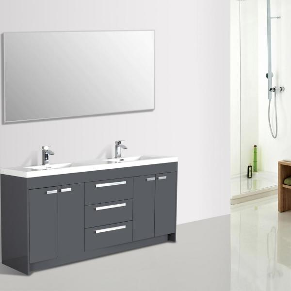 Gray Modern Bathroom Vanity With White