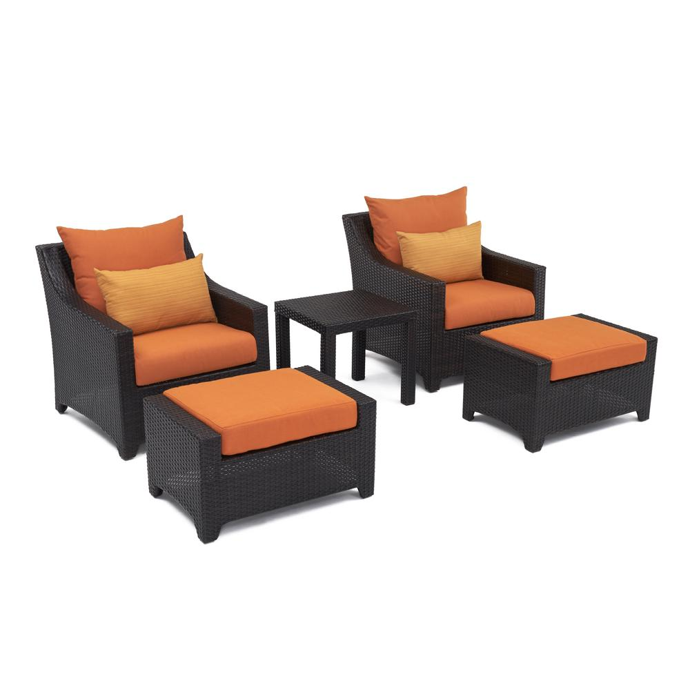 RST Brands Deco 5 Piece Patio Chat Set With Tikka Orange Cushions