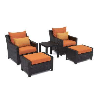 Deco 5-Piece Patio Chat Set with Tikka Orange Cushions