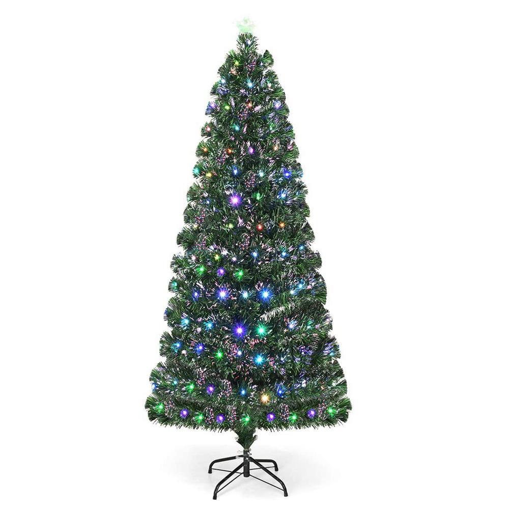 7.5 ft. Prelit Artificial Christmas Fiber Optic Tree Christmas Holiday Decoration with Colorful Lights