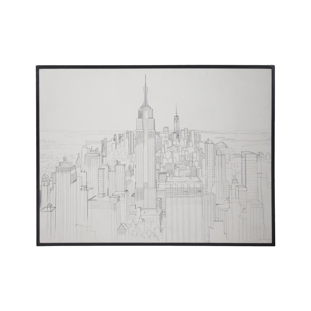 "36 in. x 48 in. ""Midtown Downtown"" Hand Painted Framed Wall"