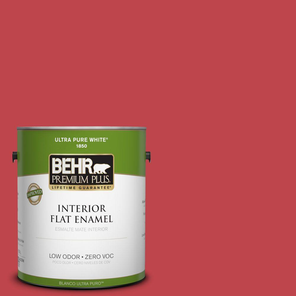 BEHR Premium Plus Home Decorators Collection 1-gal. #HDC-FL13-1 Glowing Scarlet Flat Enamel Interior Paint-DISCONTINUED