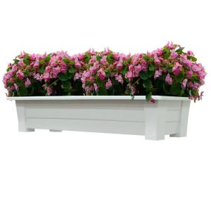 Adams Manufacturing 36 inch x 15 inch White Resin Deck Planter by Adams Manufacturing