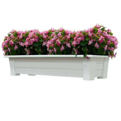 36 in. x 15 in. White Resin Deck Planter