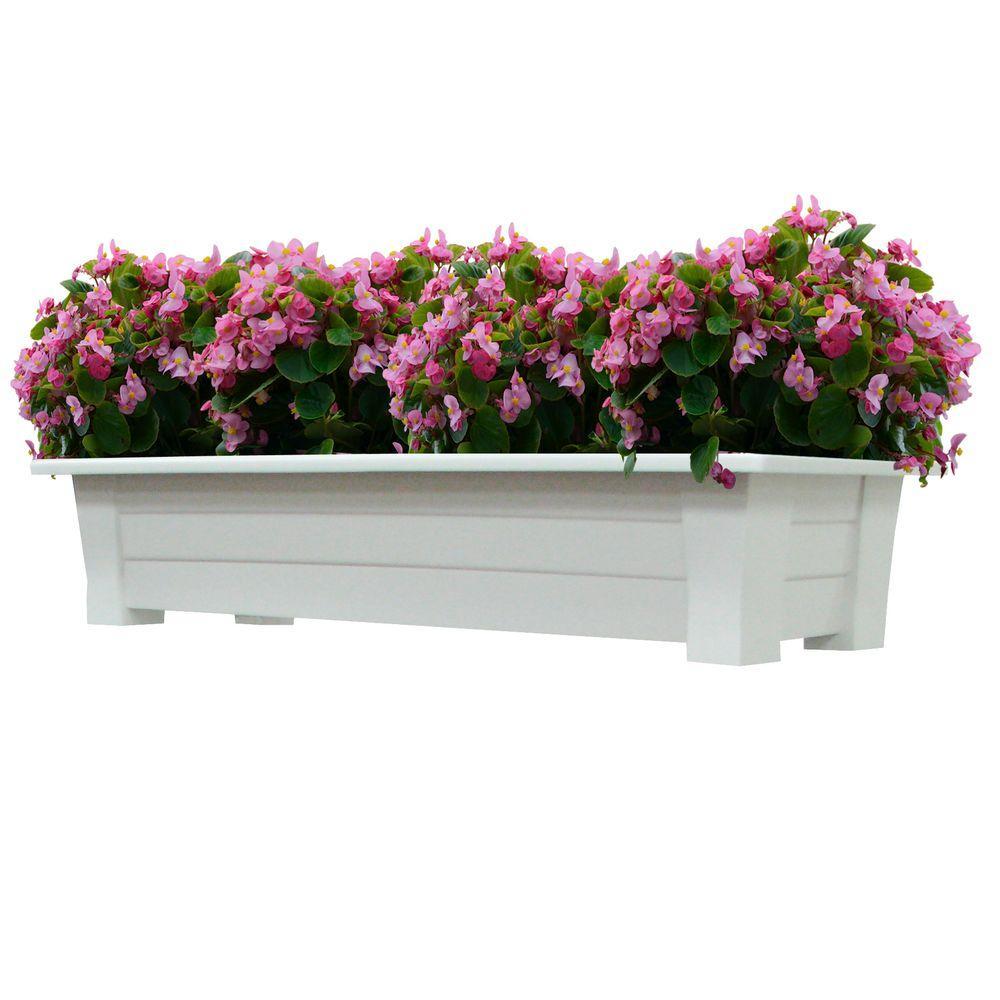 36 in. x 15 in. White Resin Deck Planter